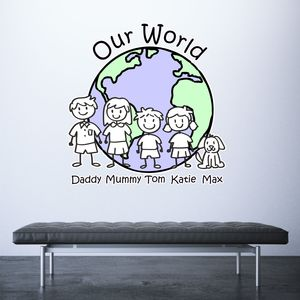Personalised Family 'Our World' Wall Sticker Decal - home accessories