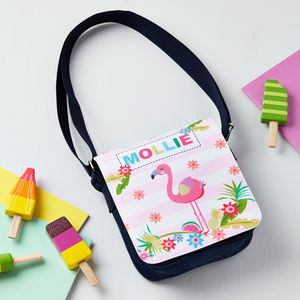 Girls Personalised Flamingo Shoulder Bag