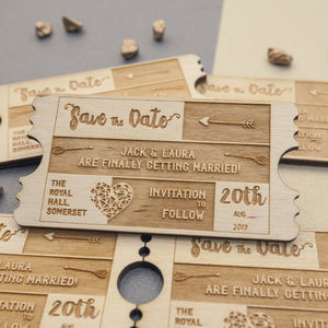 Personalised Wooden Save The Date - wedding stationery