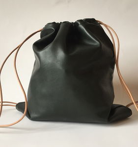 Drawstring Leather Rucksack