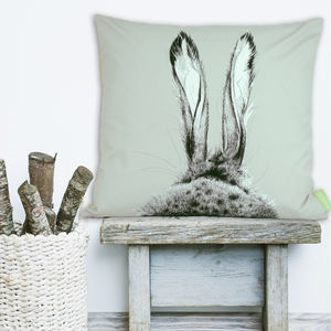 The Runners Number One Hare Cushion - bedroom