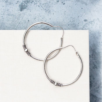 Detailed Bali Boho Sterling Silver Hoop Earrings