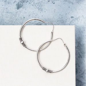 Detailed Bali Boho Sterling Silver Hoop Earrings - earrings