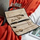 Personalised Luxury Leather Travel Jewellery Roll