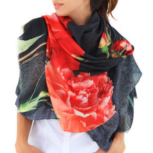 Ladies Cashmere Printed Scarf Shawl, Carnations - pashminas & wraps