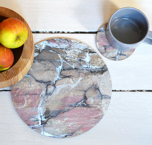 Round Earthy Placemats And/Or Coasters Set Of Four