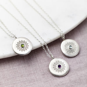 Personalised Sterling Silver Birthstone Necklace - birthstone jewellery gifts