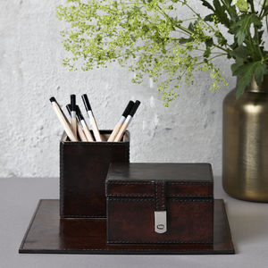 Leather Desk Set Small - desk accessories