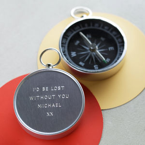 Personalised Engraved Anniversary Compass - 25th anniversary: silver