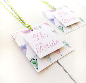 Patchwork Bunting Wedding Place Setting Tag - place cards
