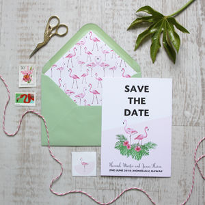 Flamingo Wedding Save The Date - on trend: botanical