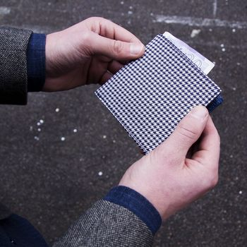 Houndstooth Silk And Leather Wallet