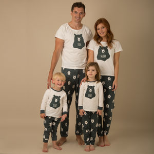 Matching Family Pyjamas Mama, Papa And Two Bear Cubs