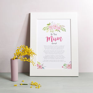 Mum Gift Poem Print - prints & art