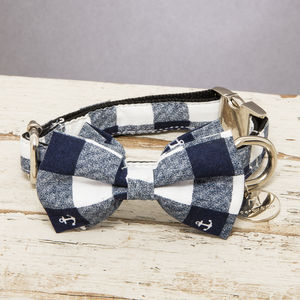 The Anglesey Blue And White Checked Dog Collar Bow Tie - dogs