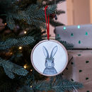 Personalised Rabbit 1st Christmas Tree Hoop Decoration