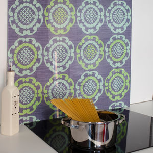 Green Geo In Grey Patterned Glass Splashback - tiles & tile stickers