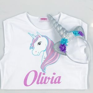 Personalised Unicorn Tshirt And Unicorn Headband Set - t-shirts & tops