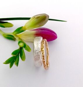 Gold And Silver Textured Stacking Rings