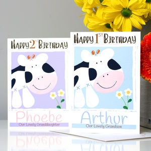Personalised Farm Cow Relation Birthday Card
