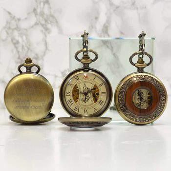 Bronze And Wood Engraved Pocket Watch