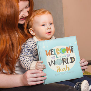 'Welcome To Your World' Personalised New Baby Book - personalised gifts