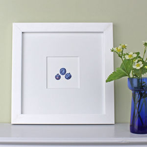 Blueberries Framed Botanical Art Print