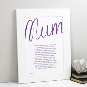 Mum Personalised Print With My Mum Poem - mother's day gifts