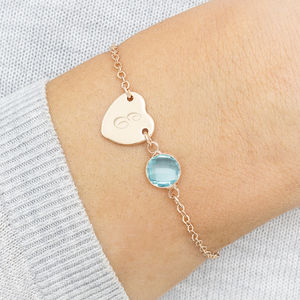 Personalised Initial Heart Birthstone Bracelet
