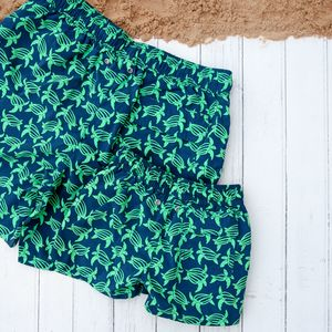 Father And Son Matching Green Turtles Swim Shorts