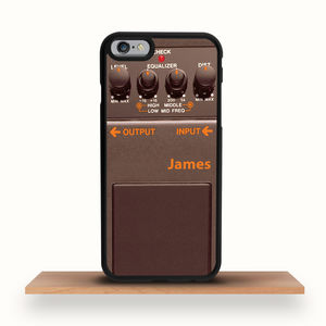 Brown Guitar Pedal Personalised iPhone Case