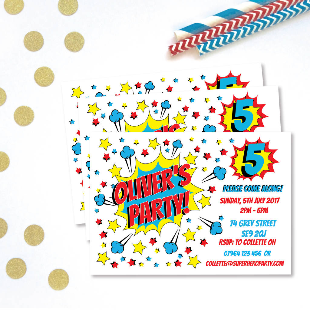Superhero Childrens Party Invitations