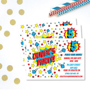 Superhero Children's Party Invitations