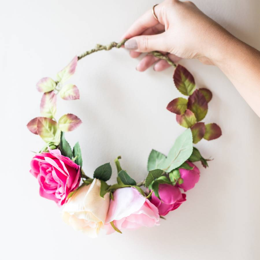 Pink Rose Floral Crown