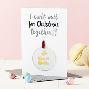 Couple's Christmas Foiled Decoration Card - cards & wrap