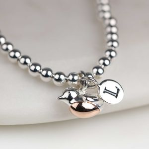 Personalised Silver And Rose Gold Robin Bracelet - bracelets & bangles