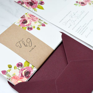 Floral Concertina Invite With Metallic Leaf