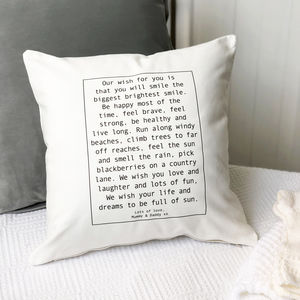Personalised Christening Baby Wish Cushion - bedroom