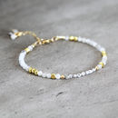 Skinny White Diamond And Moonstone Bracelet