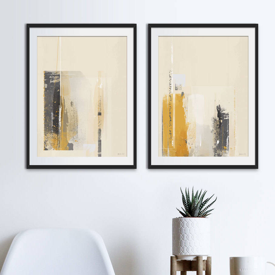 Yellow And Grey Abstract Prints Set Of Two