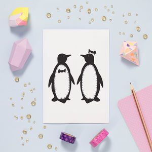 Penguin Pair Card - wedding, engagement & anniversary cards