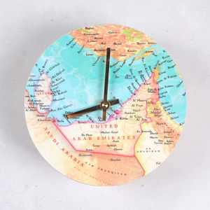 Personal Map Location Round Wall Clock For Him - frequent traveller