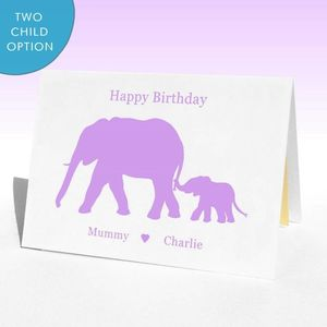 Personalised Birthday Elephants Birthday Card - posters & prints
