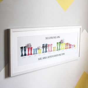 Personalised Panoramic Welly Boot Family Print - posters & prints