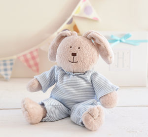 New Baby Boy Gift. A Bunny Box And Personalised Verse - soft toys