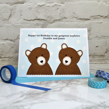 'Bears' Personalised Twin Boys New Baby / Birthday Card