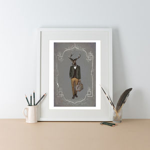 Julian Stag Full Colour Illustration Print