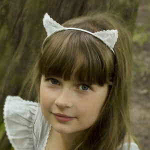 Girls Ivory Lace Pussycat Hairband - wedding fashion