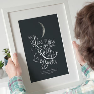 Personalised 'I Love You To The Moon And Back' Print - posters & prints for children