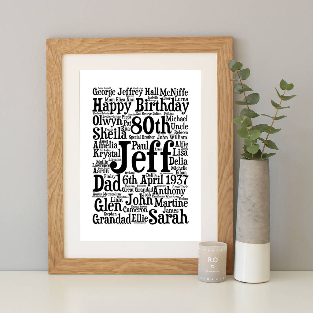personalised 80th birthday word art gift by hope and love ...